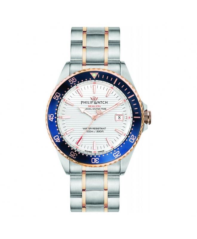 Philip Watch Sealion 42mm 3h w/silver dial br ss+rg uomo - galleria 1