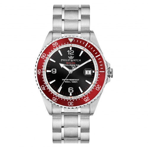 Philip Watch Sealion 42mm 3h black dial br ss uomo R8253209002