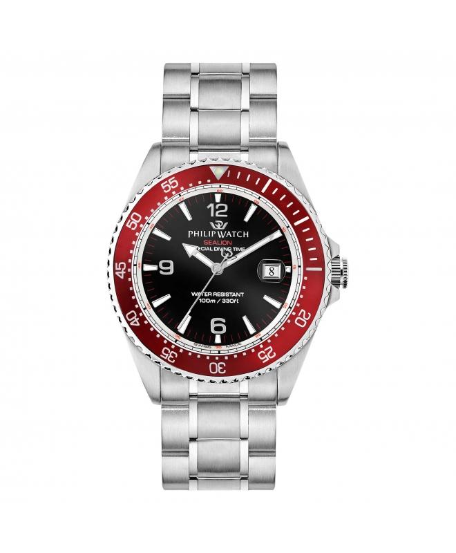 Philip Watch Sealion 42mm 3h black dial br ss uomo R8253209002 - galleria 1