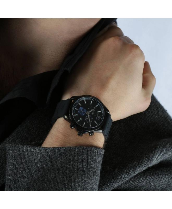 Philip Watch Blaze 41mm chr 6h black dial black ru st uomo - galleria 2