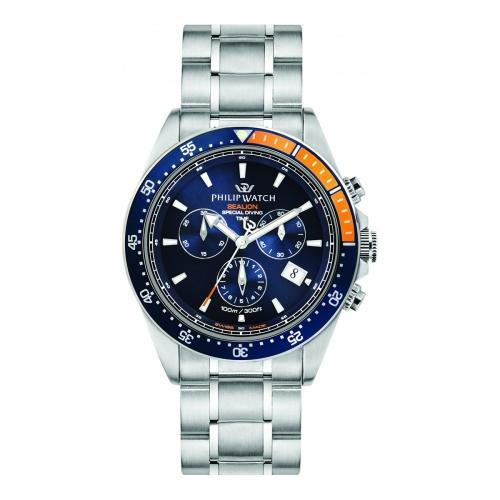 Philip Watch Sealion 42mm chr blue dial br ss uomo R8273609001