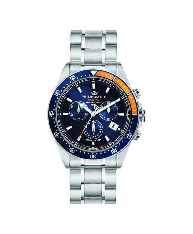 Philip Watch Sealion 42mm chr blue dial br ss uomo R8273609001 - galleria 1