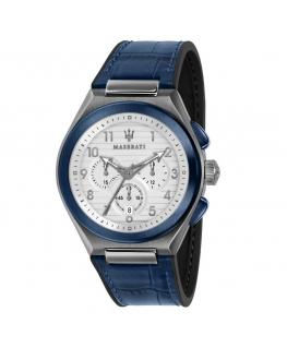 Maserati Triconic 43mm chr white dial blue st