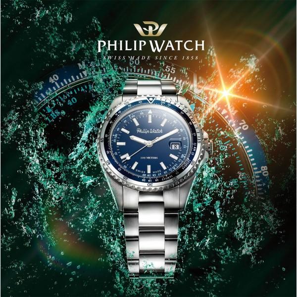 Orologio Philip Watch Caribe uomo acciaio / blu R8253597020 - galleria 2