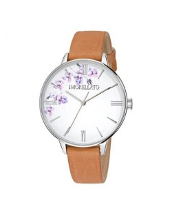 Morellato Ninfa 36mm 3h white di w/flowers brown s