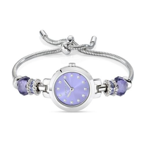 Morellato Drops 2h 28mm lilac dial br 4 beads ss