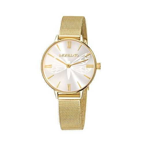 Morellato Ninfa 30mm 2h champagne dial mesh br yg donna
