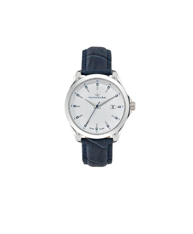 Lucien Rochat Montpellier 41mm 3h white dial black str - galleria 1