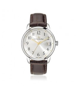 Lucien Rochat Geste' gent 40mm 3h w/sil dial brown st