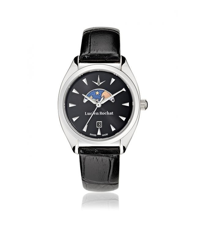 Lucien Rochat Lunel 32mm 3h cool gray dial black strap - galleria 1