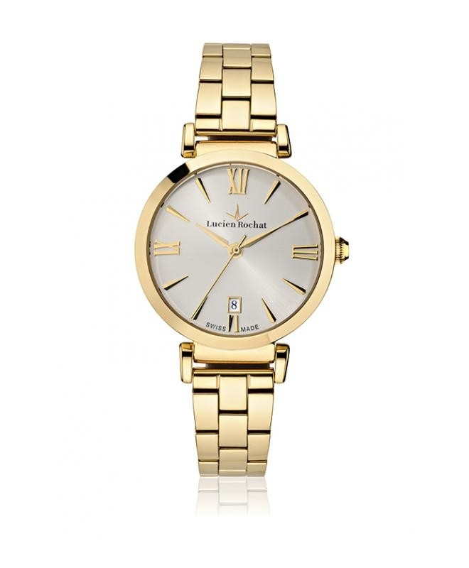 Lucien Rochat Giselle 34mm 3h w/silver dial yg br - galleria 1