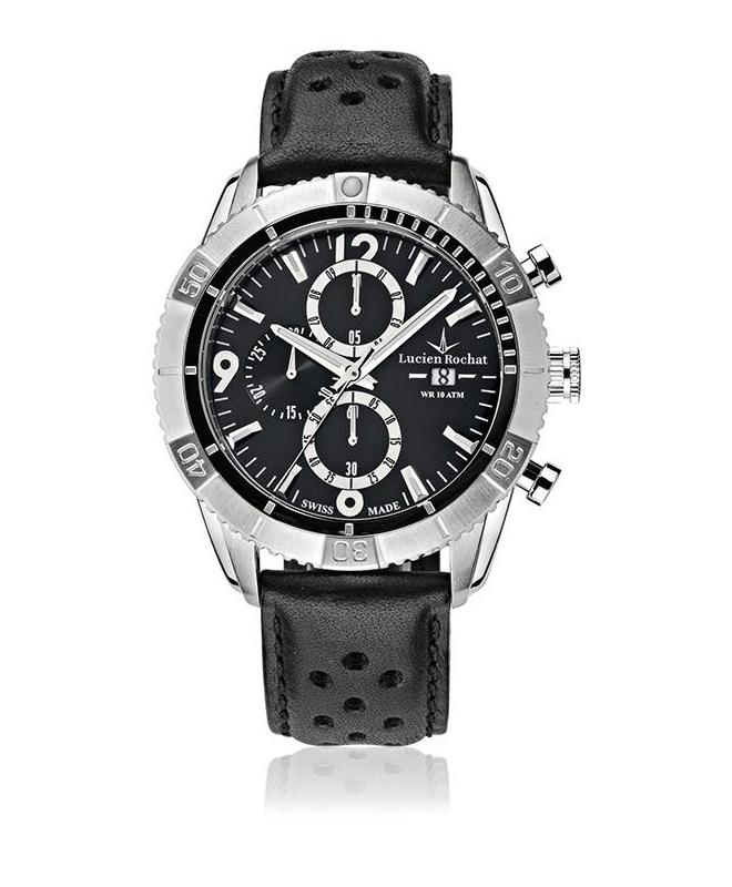 Lucien Rochat Krab 45mm chr black dial black st - galleria 1