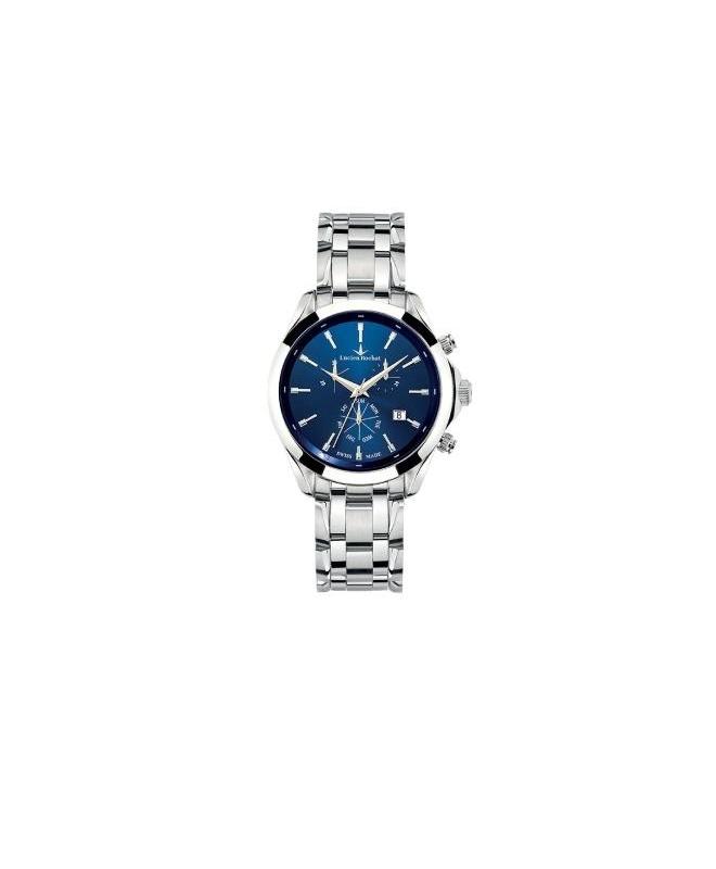 Lucien Rochat Montpellier 41mm chr blue dial ss br - galleria 1