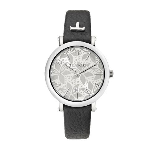 Trussardi T-pretty 32mm 3h w/silver dial black str