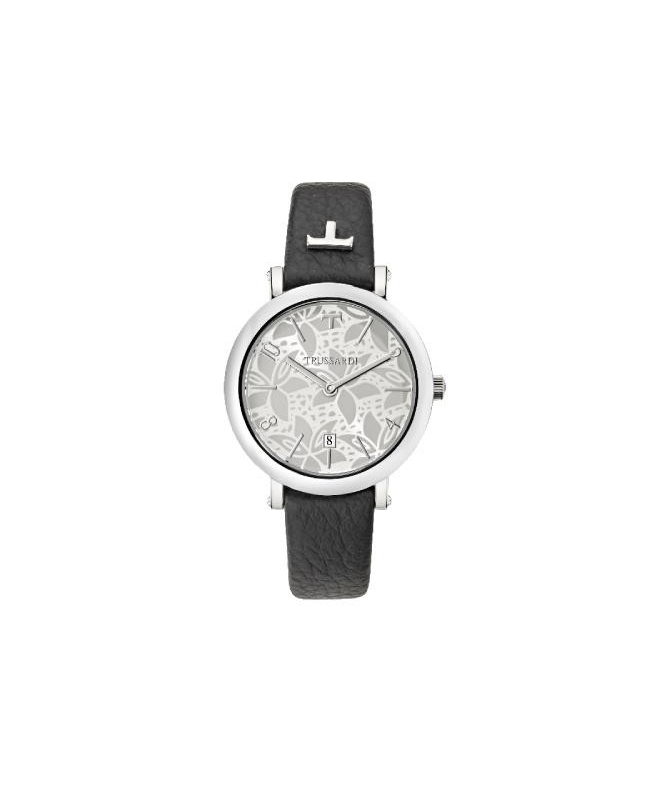 Trussardi T-pretty 32mm 3h w/silver dial black str - galleria 1