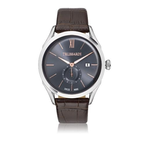 Trussardi Milano 2h blue dial brown str ss