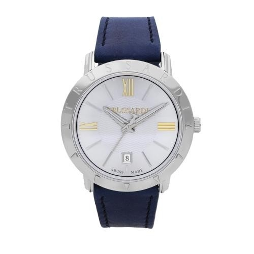 Trussardi Sinfonia 42mm 3h silver dial blue strap