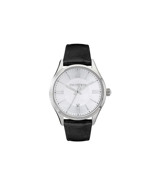 Trussardi Tfirst gent 43mm 3h silver dial blk st - galleria 1