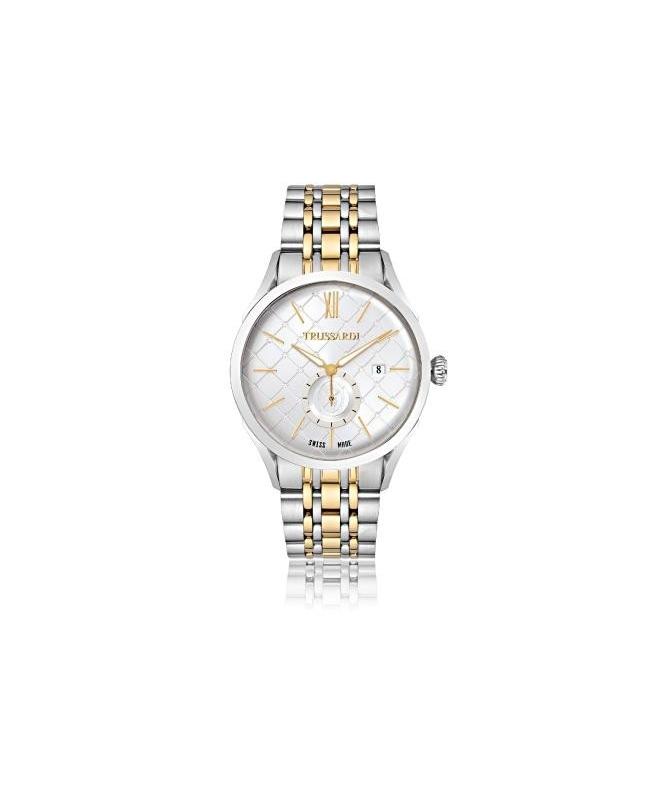 Trussardi Milano 3h white dial bracelet ss+yg - galleria 1
