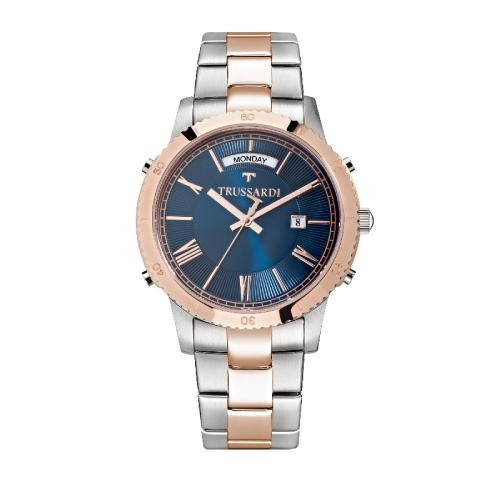 Trussardi T-style 41mm 3h blue dial br ss+rg