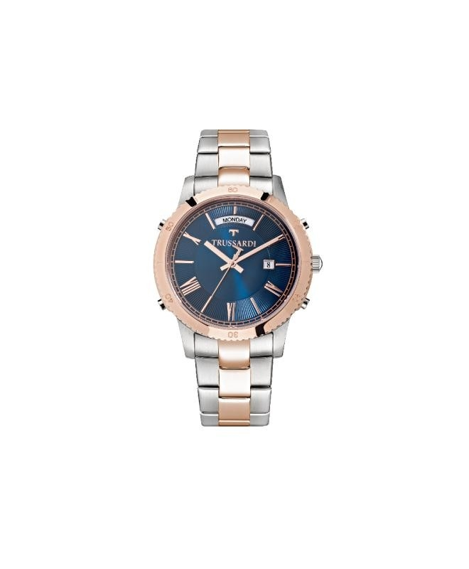 Trussardi T-style 41mm 3h blue dial br ss+rg - galleria 1
