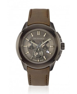 Trussardi T01 chr gray dial green strap