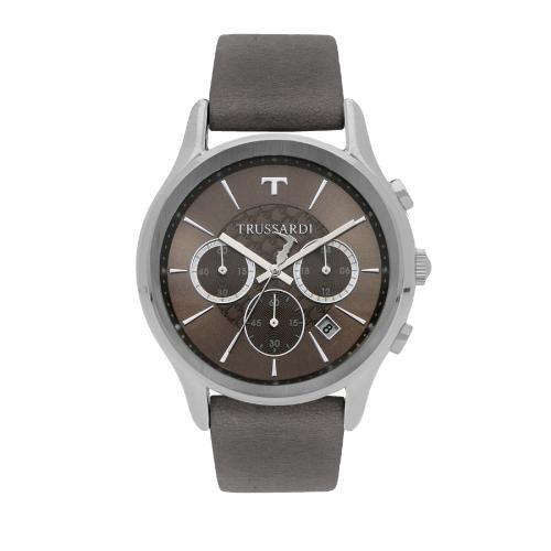 Trussardi Tfirst gent 43mm chr grey dial grey st