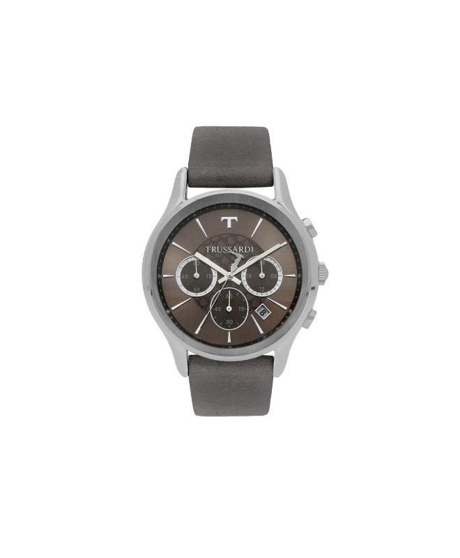 Trussardi Tfirst gent 43mm chr grey dial grey st - galleria 1