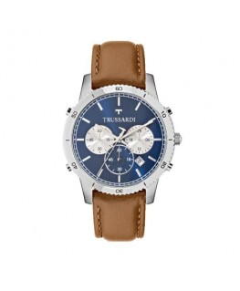 Trussardi T-style 44mm chro blue dial brown st