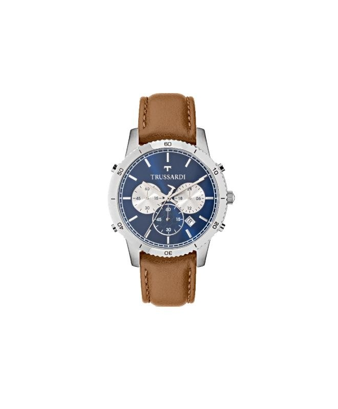 Trussardi T-style 44mm chro blue dial brown st - galleria 1