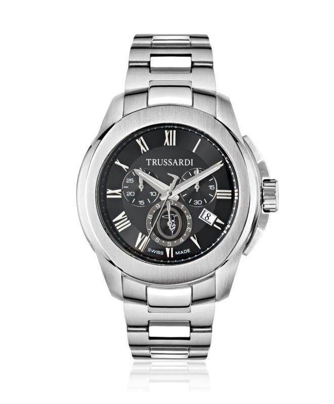 Trussardi T01 chr black dial bracelet - galleria 1