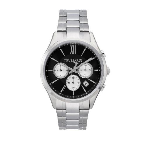 Trussardi Tfirst gent 43mm chr black dial ss br