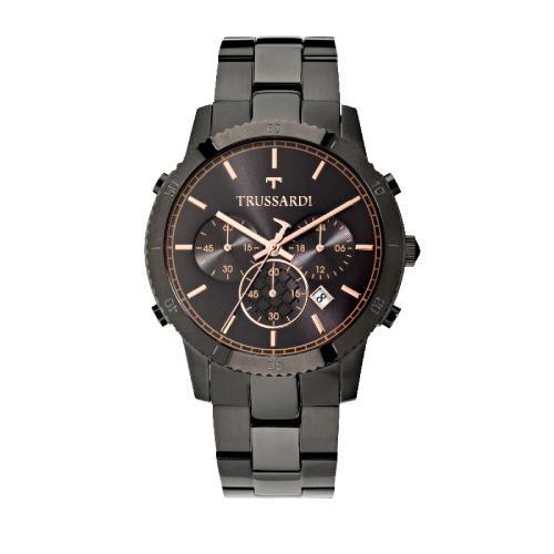 Trussardi T-style 44mm chro black dial br black