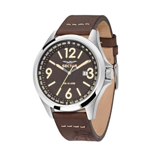 Sector 180 45mm 3h brown dial brown str ss