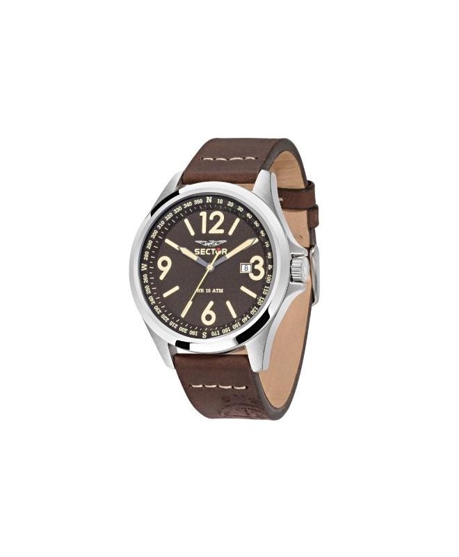 Sector 180 45mm 3h brown dial brown str ss - galleria 1