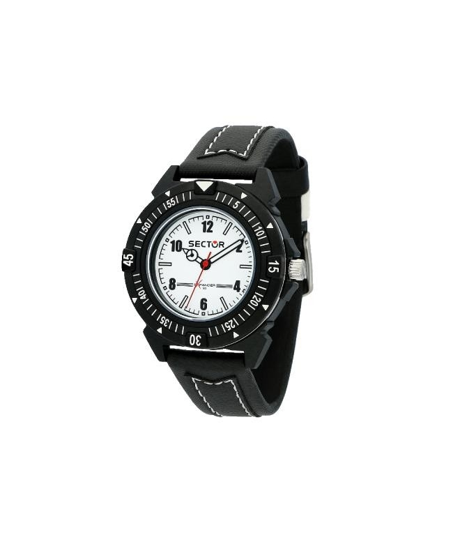 Sector Expander 90 40mm 3h white dial black st - galleria 1