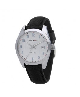 Sector 245 41mm 3h white dial black strap
