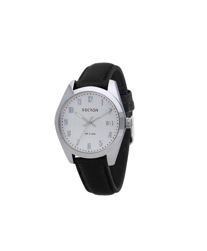 Sector 245 41mm 3h white dial black strap - galleria 1
