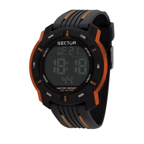Sector Ex-18 45.5mm digital blk w/orange strap