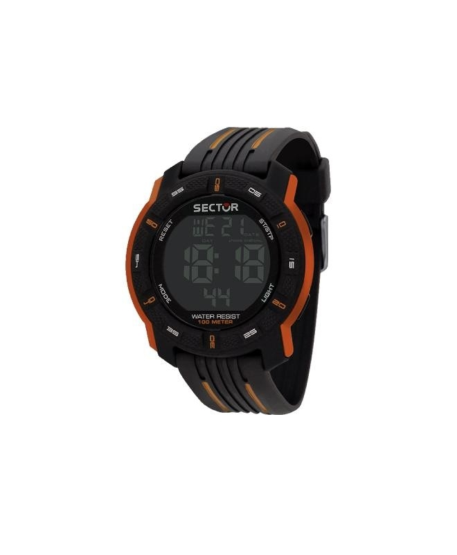 Sector Ex-18 45.5mm digital blk w/orange strap - galleria 1