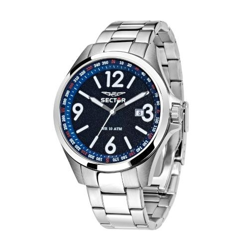 Sector 180 45mm 3h d.blue dial br ss
