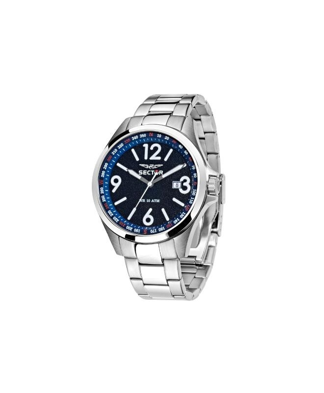 Sector 180 45mm 3h d.blue dial br ss - galleria 1