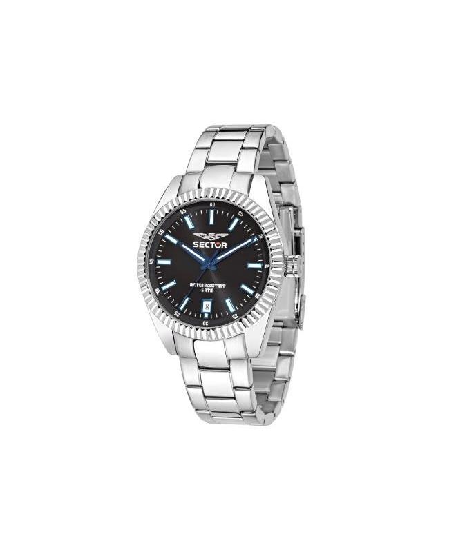 Sector 240 3h 41mm black dial bracelet ss case - galleria 1