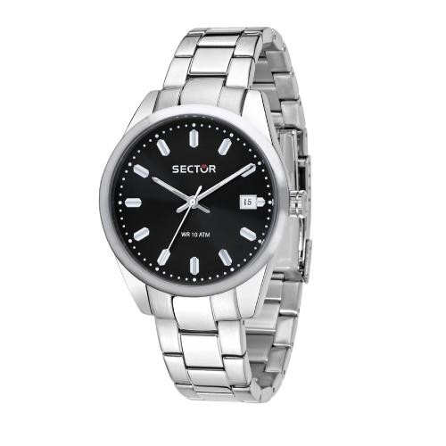 Sector 245 41mm 3h black dial ss br