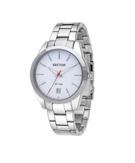 Sector 245 41mm 3h white dial ss br