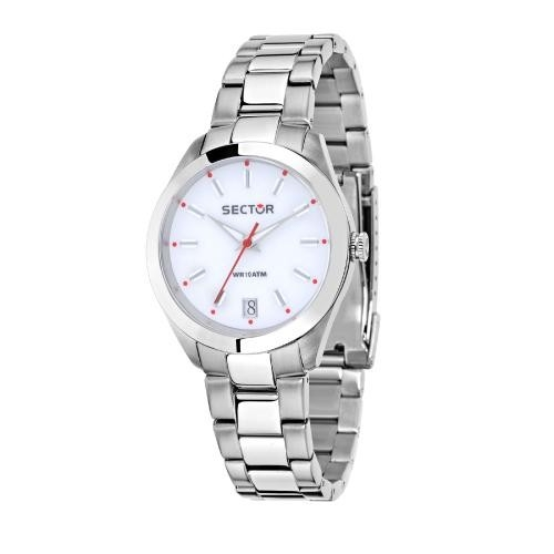 Sector 245 31mm 3h white dial ss br