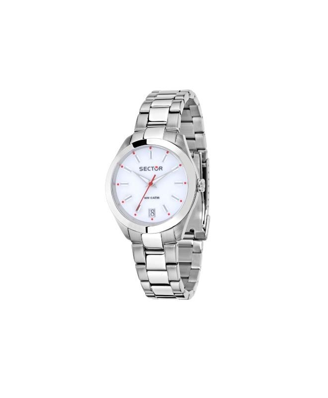 Sector 245 31mm 3h white dial ss br - galleria 1