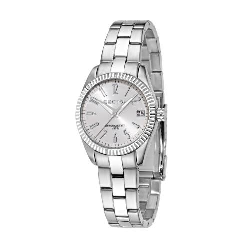Sector 240 3h 32mm white pearl dial br ss donna R3253579518