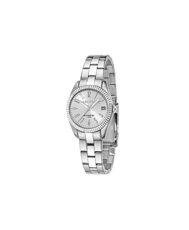 Sector 240 3h 32mm white pearl dial br ss - galleria 1