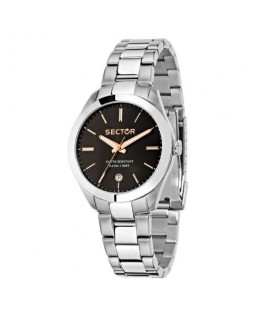 Sector 120 36mm 3h black dial bracelet ss